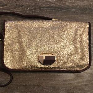 Handbags - Stunning Gold Glitter Purse with Deep Purple Trim